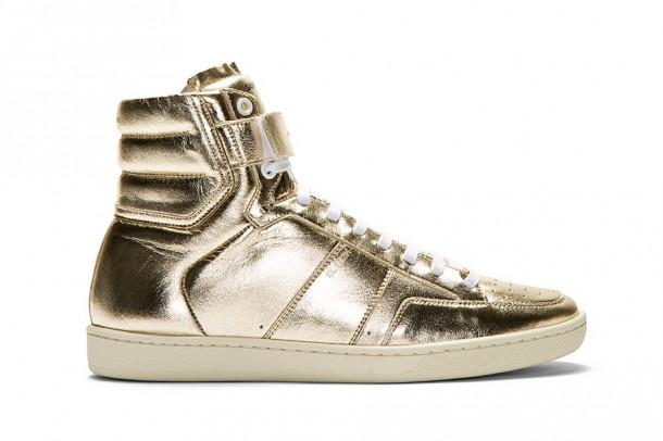 Die schönsten Haute Couture Sneaker 2014 - Saint Laurent Gold Lamé Leather Hi-Top Sneaker