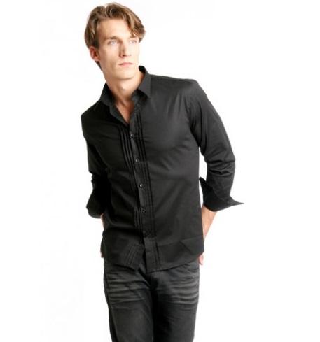 HEYU Herrenhemd in Schwarz Größe M
