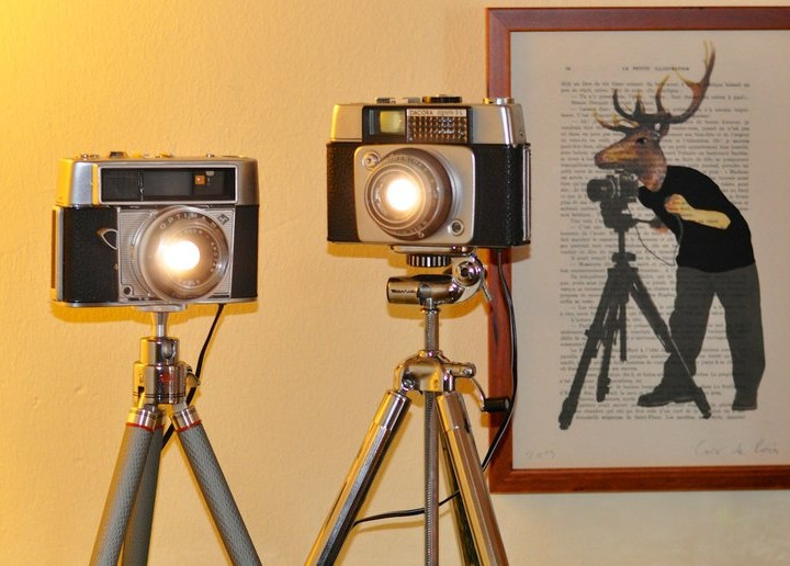 Interior Design Recommendation: Lamps made of Vintage Cameras