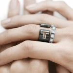 Tiffany T Cut-out Ring in sterling silver with black ceramic, Diamond Train Ring in 18k white gold