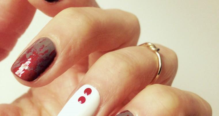 Manicure Monday | Grau trifft Rot