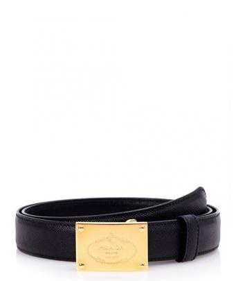 Menswear Accessoire: Prada Ledergürtel mit Goldschnalle