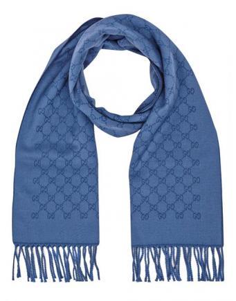 Menswear | Accessoire - Luxury Gucci Schal in Azur mit Fransen