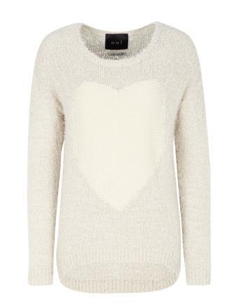 White Heart Boxy Langarm Shirt