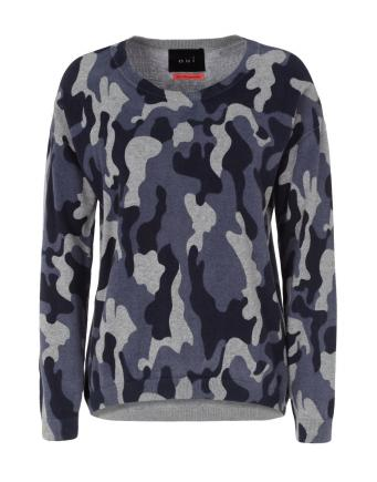 Camouflage Sweater in Blue by Oui