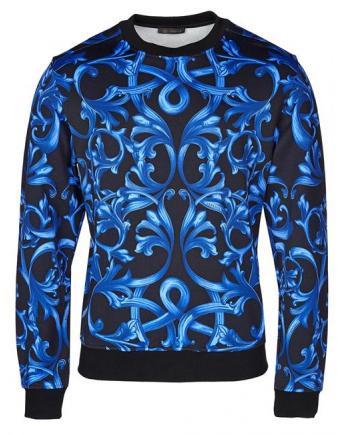 Menswear: Versace Pullover in Blau-Schwarz