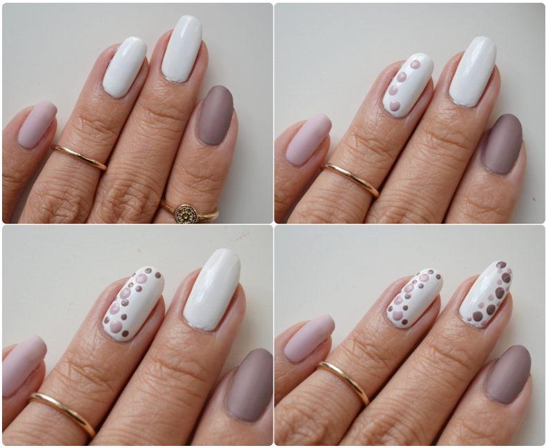 Nail Tutorial - Taupe and lilac dots | Read-The-Trieb