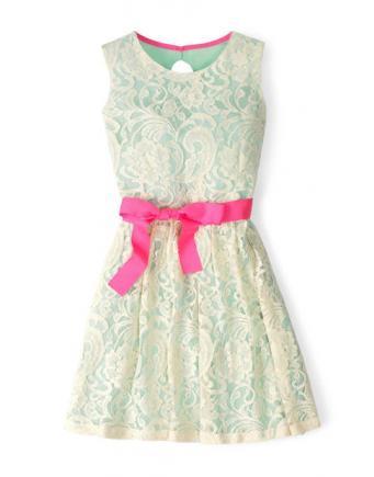 Mädchenkleid in Türkis/Weiß mit Schleife in Pink