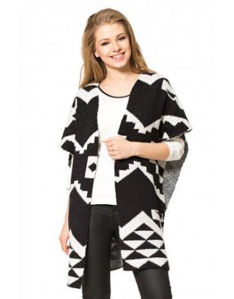 Moderner Ethno Poncho in Schwarz & Weiß