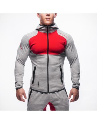 Muscle Fit Zipper Grau-Rot by Gym Aesthetics