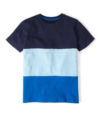 Blaues T-shirt mit Blockstreifen für Kids