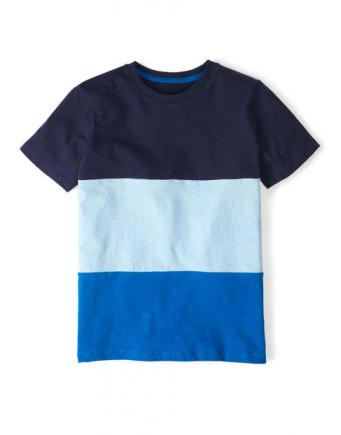 Blue T-shirt with stripes for kids