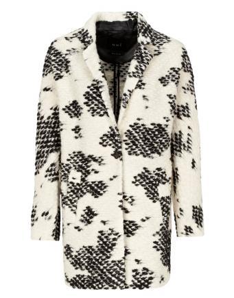 Black & White Bouclé Coat by Oui