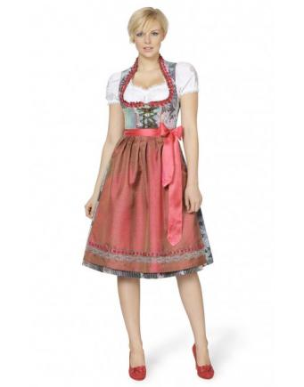 Midi Dirndl in Coral and Silver