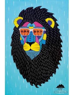 Poster: stylischer Löwe mit Sonnenbrille