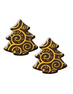 Schoko-Tannenbäumen mit Goldornamenten