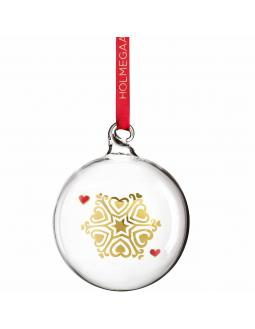 Golden snowflake christmas tree ornament out of glass