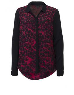 Red black leo print blouse by Gestuz