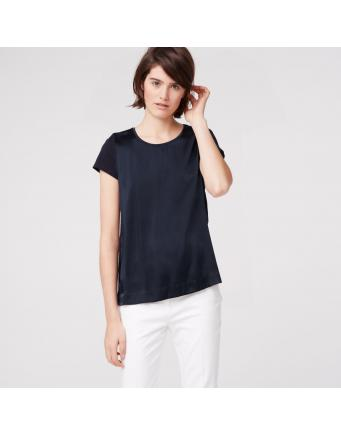 T-Shirt im Fabric-Mix - marine