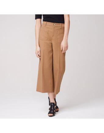 Cropped Hose mit weitem Cut - mocca