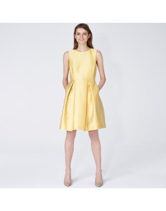 Patterned Jacquard-dress – pale-yellow