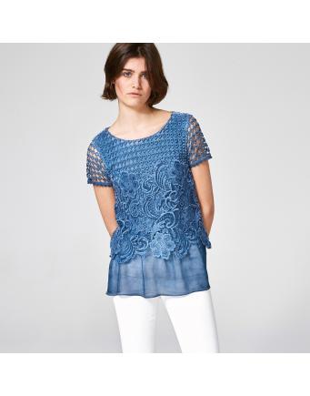 Spitzentop -  jeansblau