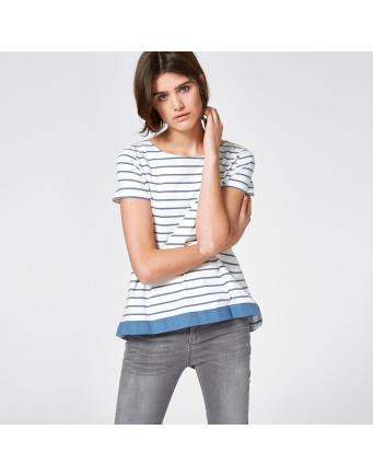 ring striped shirt with back fold