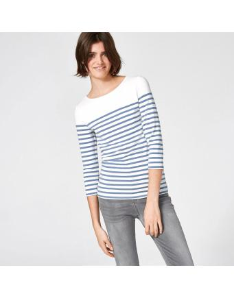 Ring striped shirt with three-quarter length sleeves - jeans-blue