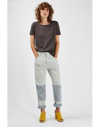 MOTO Boyfriend-style jeans with knee patch - Ecru