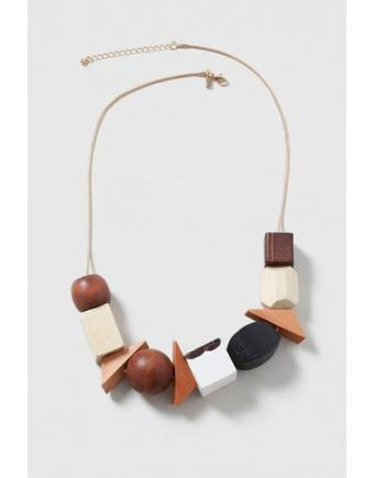 Halskette mit Holzperlen - Braun