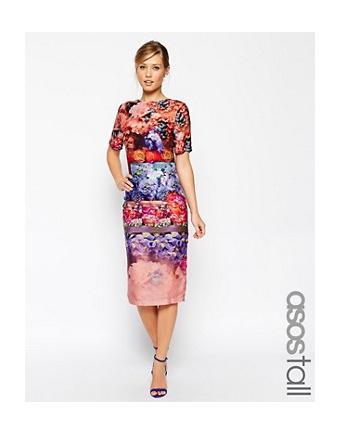 ASOS WEDDING struktureeritud kuuliga kleit, millel on dekoratiivne vibu tagaküljel ja piparmündirohelise roositrükiga