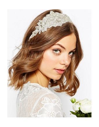 ASOS WEDDING - Haarband mit großem Strassstein - Weiß