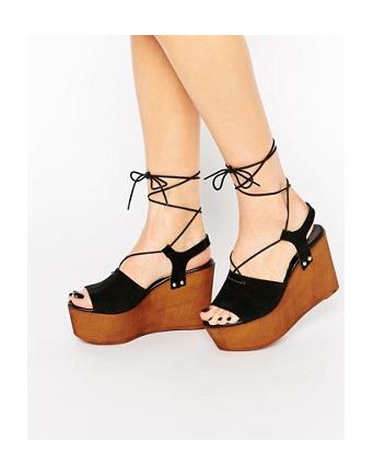 ASOS - TOO GOOD - suede leather sandals with wedge heels - black