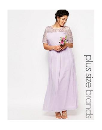 Lovedrobe - decorated chiffon maxi dress - violet
