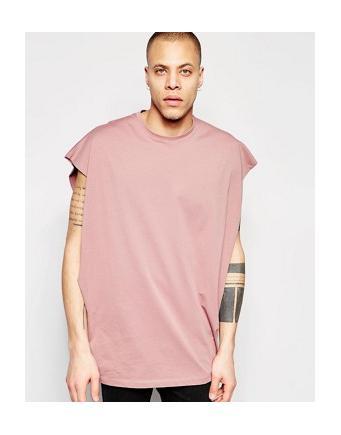 ASOS - ärmelloses Oversize-T-Shirt mit tiefen Armausschnitten in verwaschenem Rosa - Wurzelholz