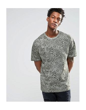 ASOS - Oversize-T-Shirt in Oil-Waschung mit Schlangenprint - Verwaschenes Grün