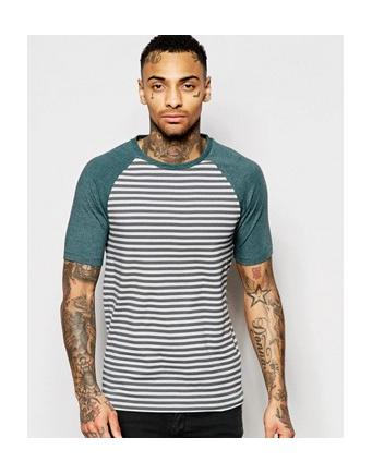 ASOS - striped muscle shirt with raglan sleeves - green-grey