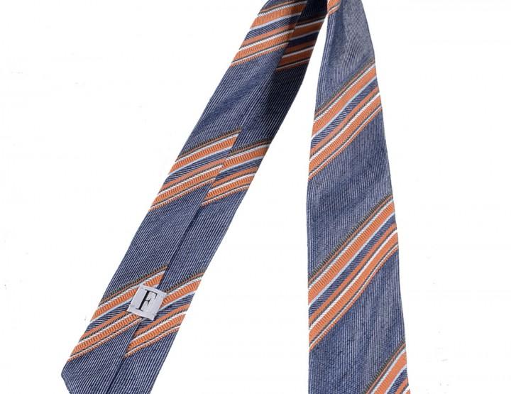 Seiden Krawatte - blau, orange, weiß
