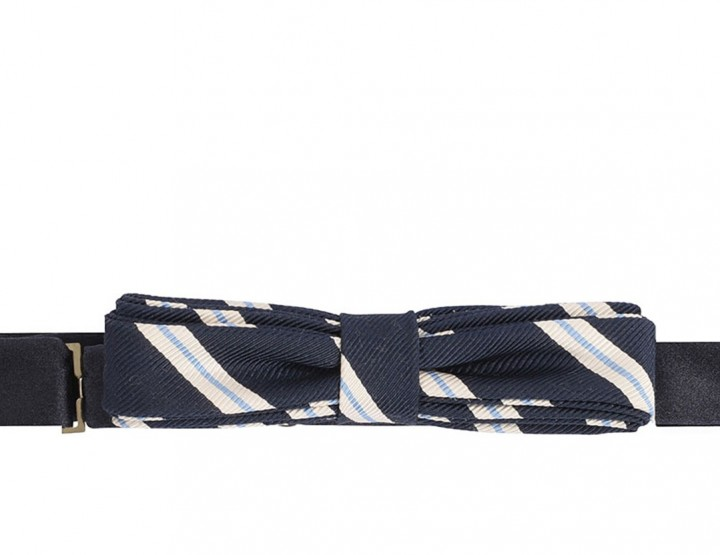 Narrow silk tie - marine