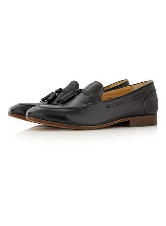 Hudson Black Leather Tassel Loafers