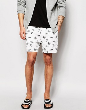 ASOS - Chino-shorts with print - white