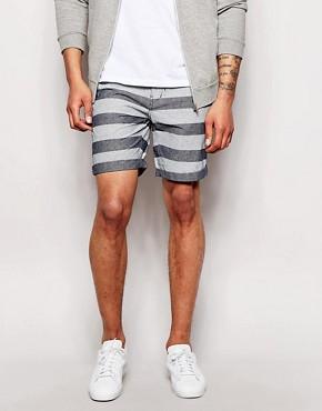 Minimum - Shorts with horizontal stripes - middle blue