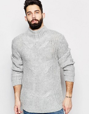 ASOS - Stand-up collar pullover with plait pattern - grey