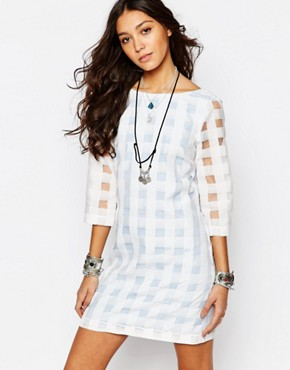 Reclaimed Vintage X Liquid Lunch - sheath dress with transparent check pattern - blue