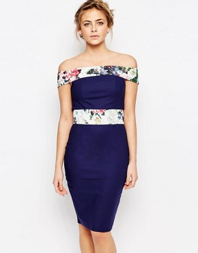 Paper Dolls - Off-the-shoulder-dress with contrasting applications - cobalt