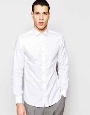 Selected Homme - structured shirt with cut away collar in tight fit - white