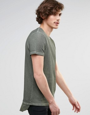 ASOS - very long cut T-shirt with waffle structure in oil-washing - green