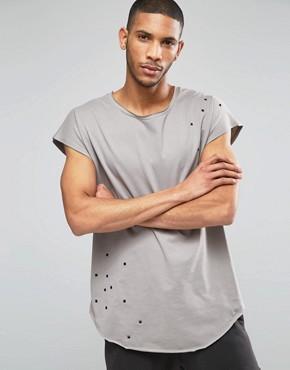 ASOS - Ärmelloses Oversized-T-Shirt in Grau mit Nieten ungesumtem U-Ausschnitt und abgerundetem Saum - Elefantenhaut