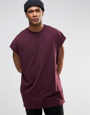 ASOS - Ärmelloses Oversized-T-Shirt mit unbearbeiteten Kanten in Ochsenblutrot