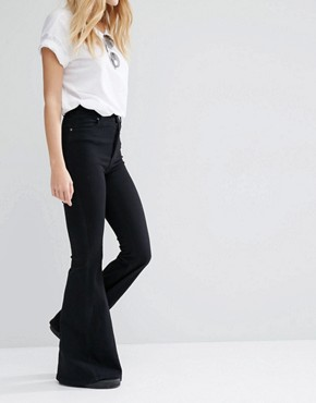 Dr Denim - Tracy - skin tight high waist flare-jeans - black